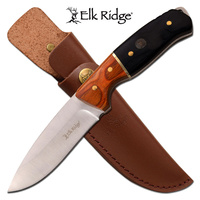 Elk Ridge Drop Point Fine Edge Fixed Blade Knife - 8.75 Inches Full Tang Wood Handle #er-200-19Dbk