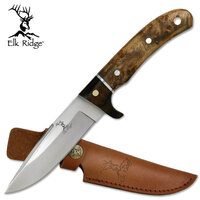 Elk Ridge 9.25 Inch Drop Point Fixed Blade Knife - W Leather Sheath #er-065