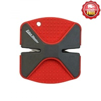 Edge Master Professional Outdoor 2 Stage Manual Knife Sharpener - Red W Non-Slip Grips #00740