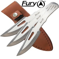 Fury Sure Thrower Knives In Leather Sheath 3Pcs