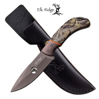 Elk Ridge Camo Hunting Knife W/ Leather Sheath Er-554Ca