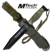 Mtech 12 Inch Hunting Survival Tanto Fixed Blade Knife - Green Camo #mt-676Tc