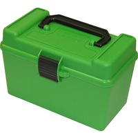 Mtm Deluxe Ammo Box - Green 50 Round .264 To .458 Win Mag Caliber #h50-R-Mag-10