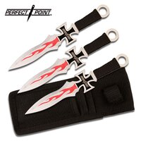 Perfect Point Cross Flame Throwing Knives 3 Piece - 7 Inch Overall W Sheath #pp-020-3
