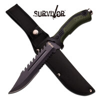 Survivor 12.75 Inch Bowie Serrated Fixed Blade Hunting Knife - Green #hk-793Gn
