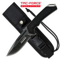 Tac-Force Evolution Drop Point Stonewashed Finish Tactical Fixed Blade Knife - 9 Inches Full Tang #tfe-Fix005-Bk