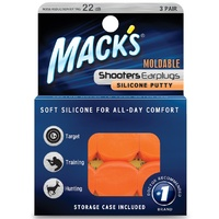 Mack's Shooters Moldable Silicone Putty Ear Plugs, Orange, 3 Pair