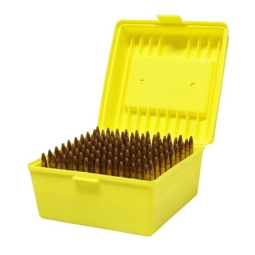 Max-comp Ammo Box Med And Lge Rifle 100rnd Yellow Fits .22-250, .308, .30-06 Etc #ptab007