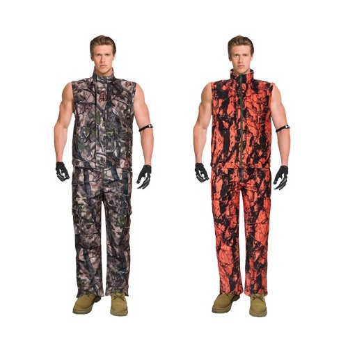 Insulated Reversable Vest&pants Camo Blaze Orange Fleece Hunting Set L